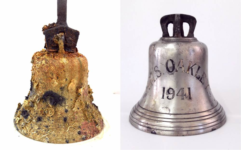 Polish Naval ORP Kujawaik bell conserved after 1942 shipwreck