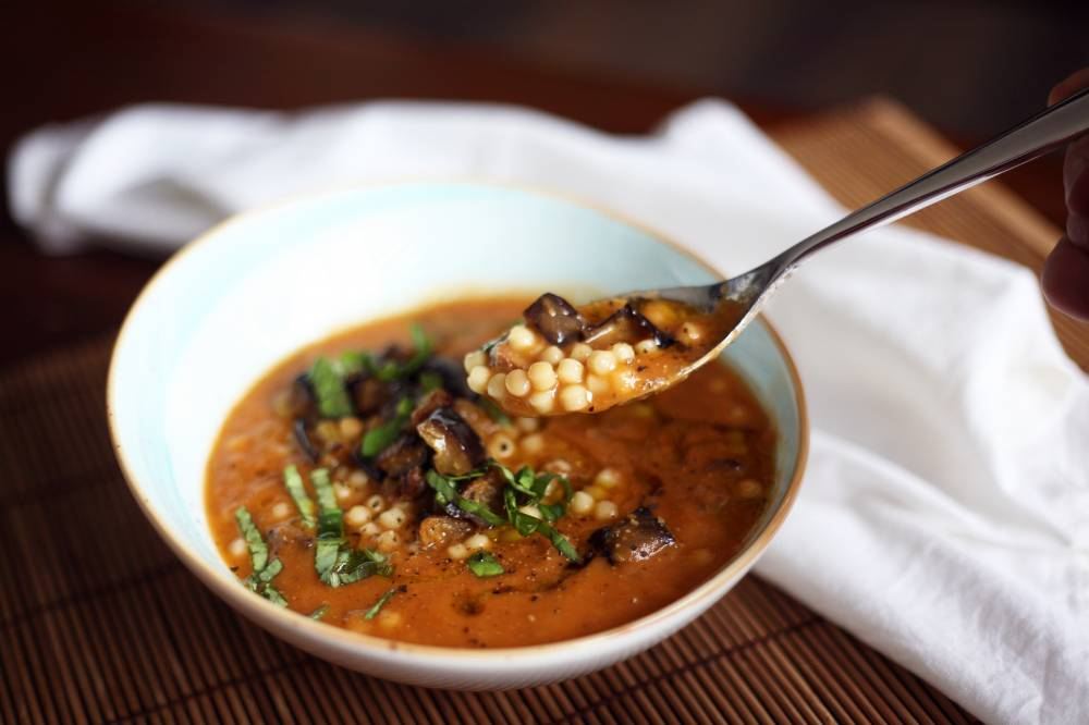 Burnt aubergine and tomato soup
