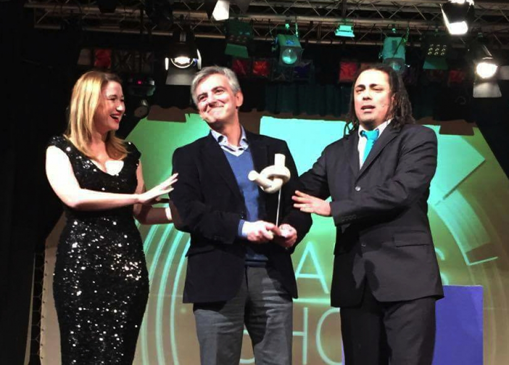 Busuttil gets the 'knot' award at Comedy Nights, after losing out to some cold pie