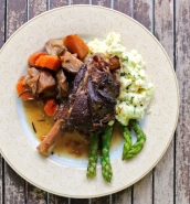 Braised lamb shanks in whiskey with colcannon