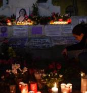 Candles for Daphne Caruana Galizia at Valletta memorial