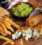 Perfect fish and chips with mushy peas