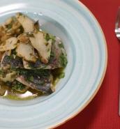 Lampuki with Jerusalem artichoke and a cherry tomato sauce