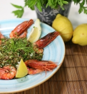 Lentil and prawn salad