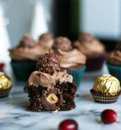 Ferrero Rocher cupcakes with Nutella buttercream frosting