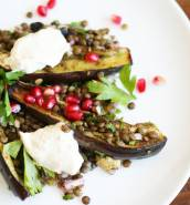 Za'atar roasted aubergines with lentils and tahini dressing
