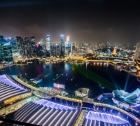 City lights and green areas of Singapore