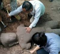 Ancient statue unearthed at Cambodia's Angkor temple complex