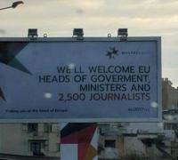 2,500 journalists welcomed... to EU presidency billboard's spelling error