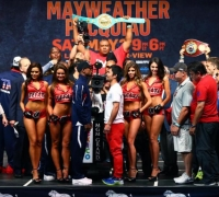 Manny Pacquiao weighs in lighter than Floyd Mayweather