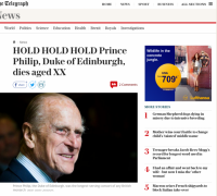 The Telegraph newspaper accidentally publishes Prince Philip's obituary