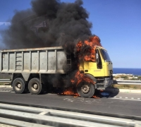 Truck catches fire on Coast Road