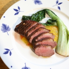 [WATCH] Seared duck breast, with apricot relish and bok choy
