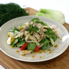 [WATCH]Lampuki and spinach salad with orange and pickled fennel