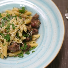 Penne with chicken livers and sage