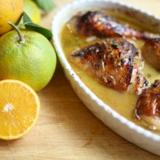 Baked chicken thighs in orange
