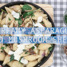 [WATCH] Creamy asparagus and mushroom shells with spinach and pecans