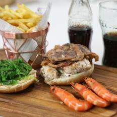 Gourmet seafood burger
