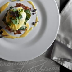 Wake up to eggs Benedict for breakfast at Waterbiscuit