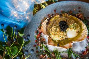 King scallops with hazelnut butter and caviar