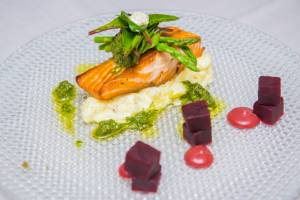 The Village Kitchen | Pan seared Salmon with beetroot, asparagus & horseradish crushed potato