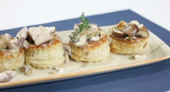 Vol au vents with oyster mushrooms and lampuki