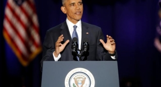 [WATCH] Obama pushes US values in emotional farewell speech