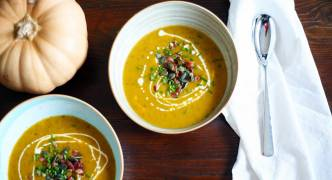 Roasted butternut and bacon soup