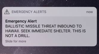 Hawaii's residents receive false missile alert, triggering hysteria, evacuations