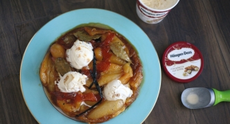 Pear and orange tarte tatin with Häagen-Dazs Macadamia Nut Brittle