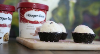 Brownie cups and Haagen-Dazs salted caramel ice cream