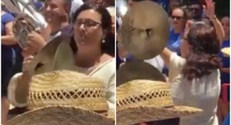 [WATCH] PD leader Marlene Farrugia keeps a mean beat during Qrendi band march