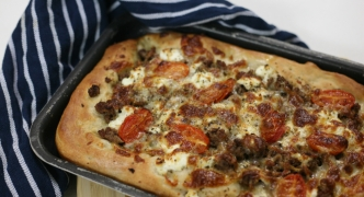 Homemade pizza with minced lamb and ricotta