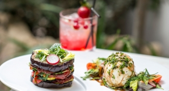 Grilled vegetable stack with mozzarella di bufala salad
