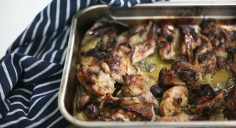Roasted rabbit with orange and sage