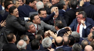 Turkish deputies scuffle during debate on constitutional reform