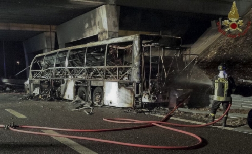16 dead, 40 injured in Italy bus crash, fire