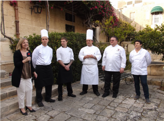 Chefs from three restaurants in Malta will be taking part in this year's Goût de/Good France, James Oakley from Waterbiscuit, (3rd from left), Kevin Bonello from Xara's De Mondion (3rd from right) and Michael Cauchi from Michael's (2nd from right).