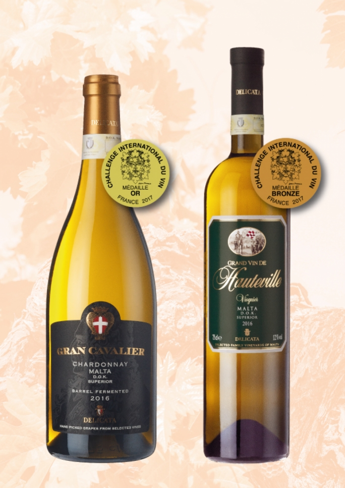 Delicata's Gran Cavalier Chardonnay 2016 (left) and the Grand Vin de Hauteville Viognier 2016; winners of gold and bronze medals respectively.