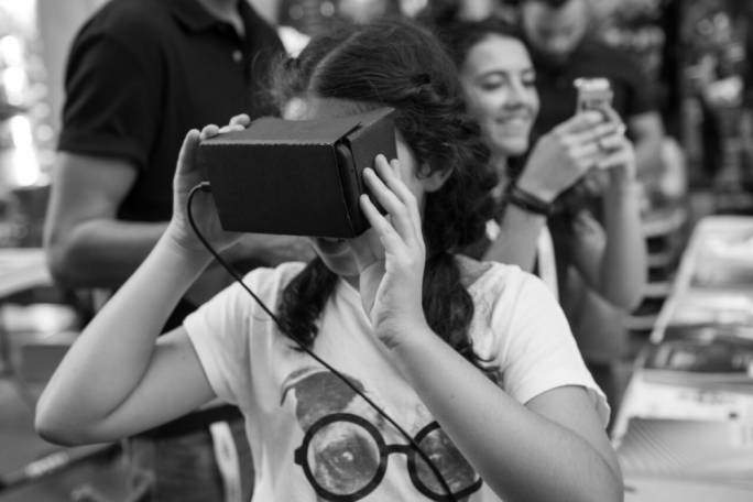 At the technology area participants can try out the Virtual Reality app