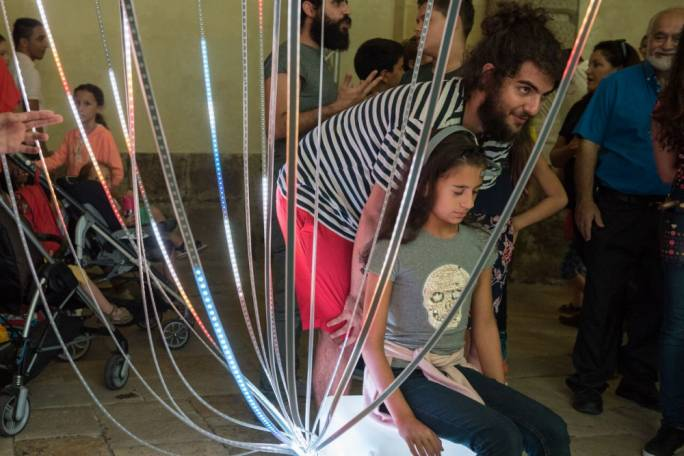 Late Interactive, who created Brainwave last year, this time they are showing another moving light installation that can push things