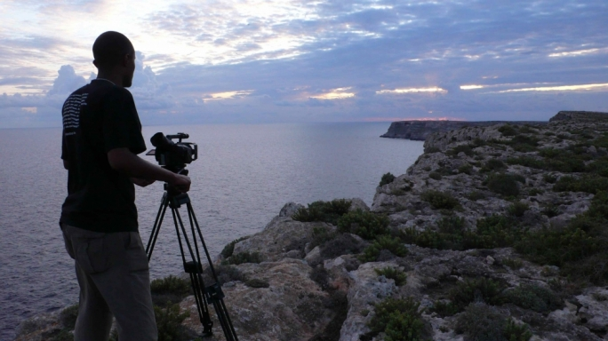 Ethiopian director Dagmawi Yimer shooting his short documentary 'Soltanto il Mare' ('Nothing but the Sea')