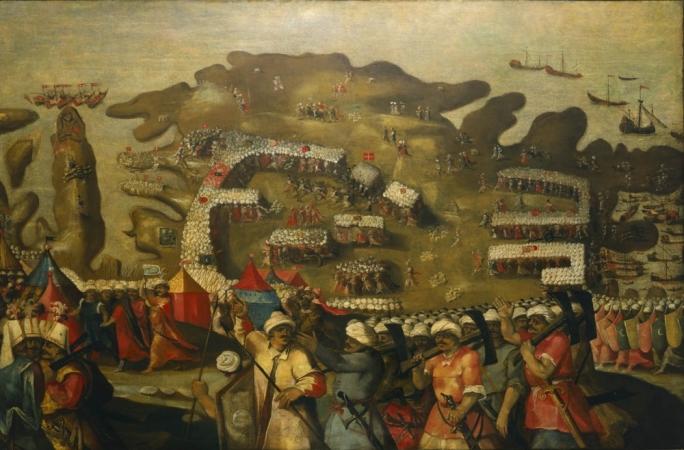The Siege of Malta – 'Arrival of the Turkish fleet' by Matteo Perez d'Aleccio