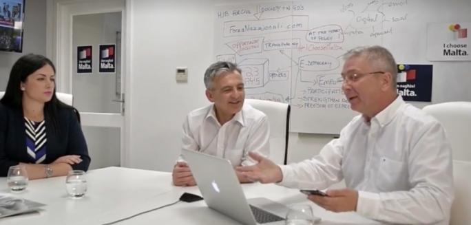 Ivan Bartolo presents the new 'ideas' online platform to Simon Busuttil
