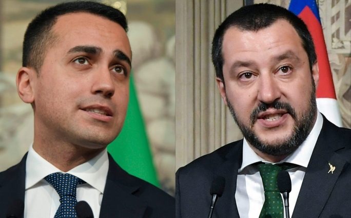 Luigi di Maio and Matteo Salvini (left)