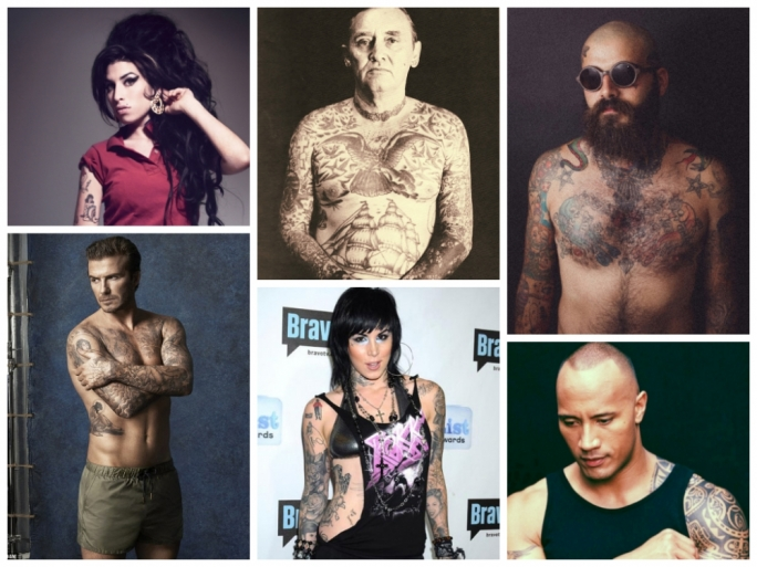Everyone's got ink! Clockwise from left, singer Amy Winehouse; American original sailor Bill Killingsworth; Kyle, works at a popular Maltese burger joint, in a photo by Nicky Scicluna; David Beckham, branded in tats; Miami Ink heroine Kat von D; and actor The Rock, in typical tribal tattoo