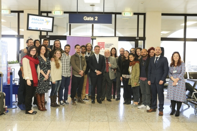 Minister Owen Bonnici with members of ZfinMalta, ahead of their international tour