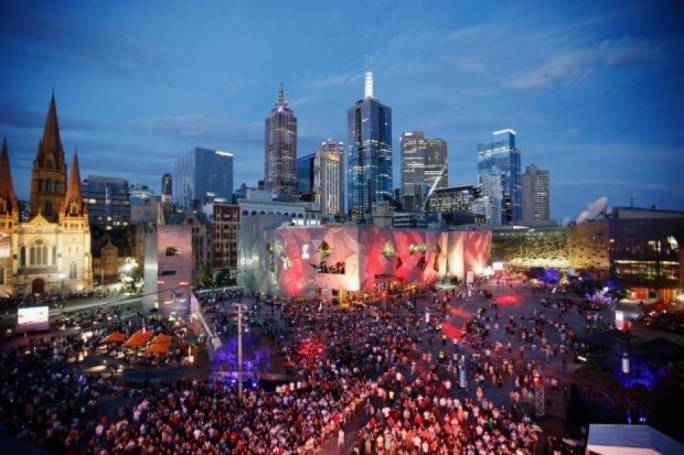 Federation Square in Melbourne on New Year's Eve 2015