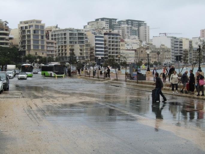 Storm floods Gzira road • Photo by Pablo Zidane