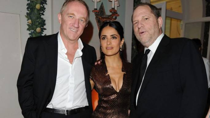 Harvey Weinstein (right) with actress Salma Hayek (centre)